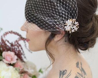 Rose Gold Birdcage Veil, Ros Gold Crystal Combs, Bandeau Bird cage Veil, Wedding Veil Rhinestones, Bridal Veil, Birdcage Veil