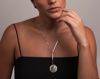 Silver or Gold-Fill Pendulum Box Chain Necklace | Sequence Collection by Haley Lebeuf