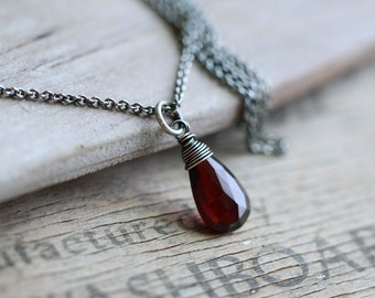 Garnet Necklace, Birthstone Necklace, Rustic Garnet Sterling Silver Necklace, Oxidized Silver Necklace, January Birthstone, Wire Wrapped