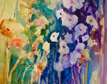Watercolor Painting  Wild Flowers original abstract art 16x20 Flower Garden Painting abstract art  Carlie DeGaetano
