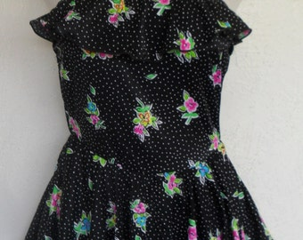 Vintage Swimsuit Black Floral Skirt Size 14 Maxine of Hollywood