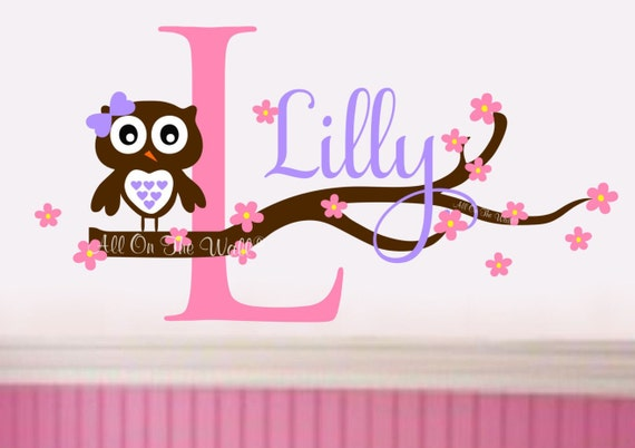 Nursery Owl Wall Decal Baby Girl Name Decal Owl Decals Personalized Wall Art Nursery Decor Name Decals Nursery Wall Stickers Owl Decor Art