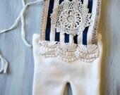 White & Navy Doily Newborn Romper Photo Prop