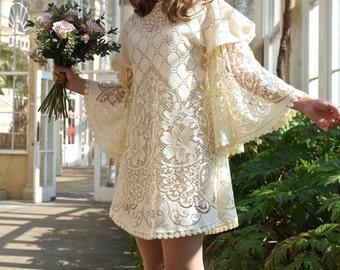 1960s Lace Angel Slvs Hippie Boho Festival Mini Dress // Handmade in England // Satin Trim // XS Small