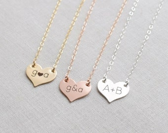 Rose Gold Heart Necklace, Gold Initials Small Engraved Heart Necklace, Silver Engraved Sweetheart Necklace, Olive Yew - 1319