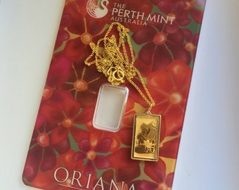 Pure Gold 1 gram Perth Mint Oriana Design Pendant Necklace | ready to ship!