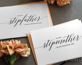 Wedding Thank You Card to Stepmother or Stepfather - Step-parents of the Bride or Groom Cards - Mother Father on My Wedding Day Card CS13