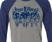 Bicycle T-shirt -The Peloton-Road Bike T-shirt-Baseball tee Grey and Blue-Bike Gift for Cyclists