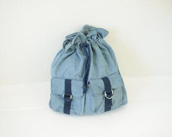 Vintage Two Tone Blue Denim Cinch Top Backpack