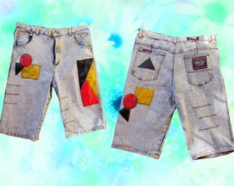 Baggy Denim Leather Patch Hip Hop Acid Wash Jean Shorts