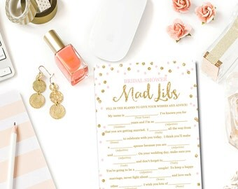 Pink and Gold Bridal Shower Mad Libs Game, Bridal Shower Games Printable Glitter Confetti Pink Bridal Shower Mad Libs Instant Download BR1