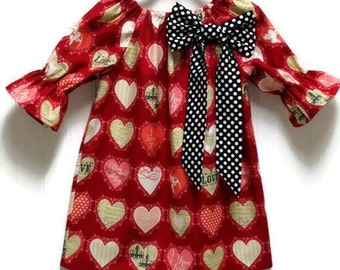 Girls Valentines Dress Lost and Found Hearts Black Polka Dot Bow Size 3-6 mo, 6-12 mo, 18 mo, 2T, 3T, 4T, 5, 6, 8