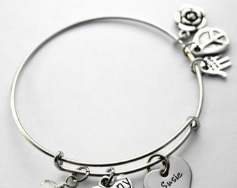 Nanny bracelet - silver plated and stainless steel - personalized with name