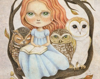 Nursery Wall Art, Girls Room Decor, Autumn Tales Woodland Nursery Wall Art, Print of Original Drawing of a Girl and Her Owl Friends