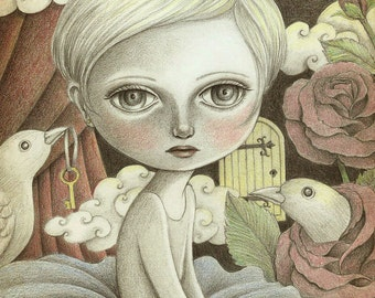 Art Print of Original Pencil Drawing, Fantasy Art Signed Print, Drawing of Big Eyed Girl in a Surreal Dream
