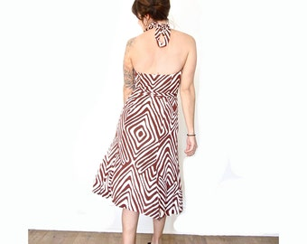 Vintage Diane von Furstenberg Wrap Dress . Brown Geometric Print . Size Medium