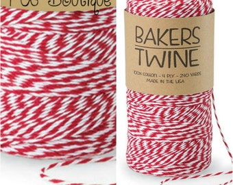 Cherry Red & White Duo 4-ply 100% Cotton Baker's Twine (Free Shipping!)