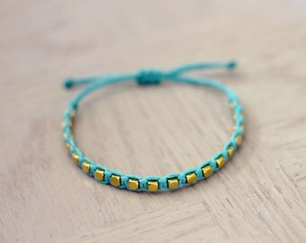 Gold Cube Bracelet - Aqua - Choose Your Color - Minimalist Hemp Jewelry Stacking Bracelet