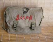 Vintage Green Grey Canvas Cross Body Bag Messenger Satchel shoulder Bag