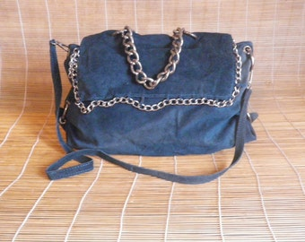 Vintage Lady's Blue Suede Shoulder Strap Tote Bag Purse With Chains