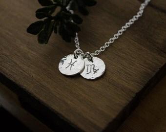 Sterling Silver Zodiac Necklace | Astrology Charm | Aries Taurus Gemini Cancer Leo Virgo Libra Scorpio Sagittarius Capricorn Aquarius Pisces