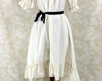 """Steampunk Ragamuffin Dress with Short Sleeves in Natural Cotton -- Size XL, Fits Bust 48""""-52"""" -- Ready to Ship"""