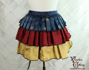 "Ruffle Bustle Overskirt - 3 Layer, Sz. S - Red, Gold, and Blue with Stars - Best Fits up to 45"" Waist/Upper Hip -- Ready to Ship"