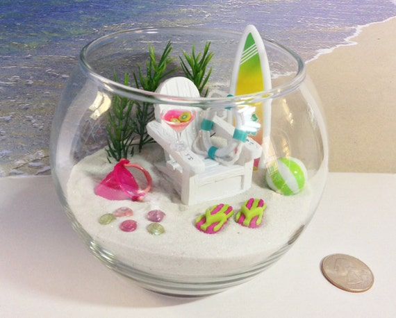 Green Pink Miniature Beach In A Fishbowl Relaxing By