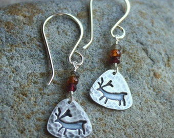 Silver Rock Art Earrings with Tundra Sapphires