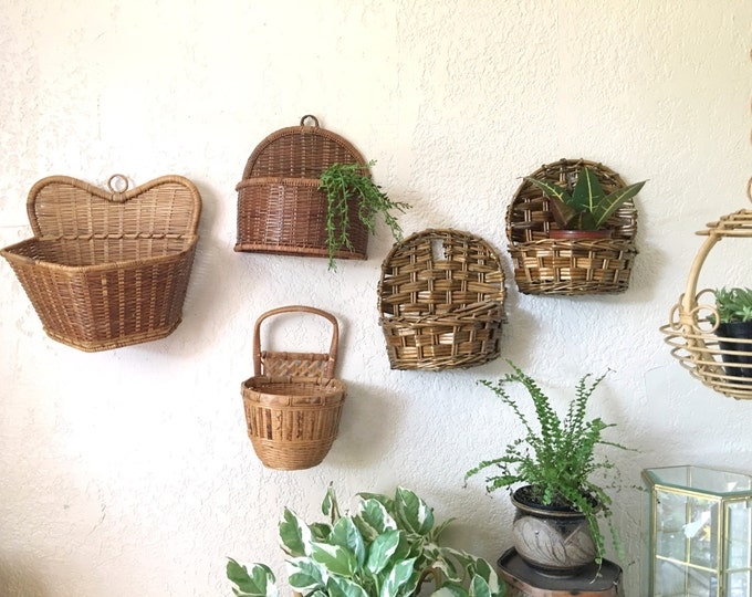 Vintage Bamboo Rattan Wicker Wall Baskets - Multiple Selections