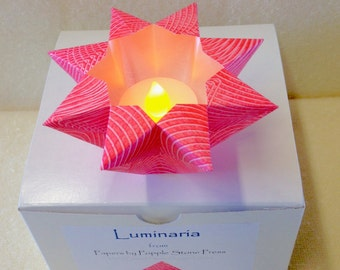 Small Luminary - Hand-painted, Origami-folded Paste Paper - Rose