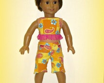 """Handmade Doll Clothes by traveller240, """"Summer Dreamsicle"""" fits 18"""" Soft Body Dolls such as American Girl, Top with Matching Capri Pants"""