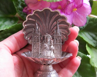 Antique VIRGIN MARY aka Virgen del Rocio Church Metal Shrine- Perfect for your religious altar