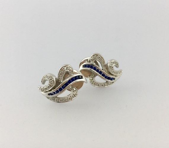Gorgeous Vintage Blue Sapphire and Diamond Stud Earrings -  14k - Leaf Design