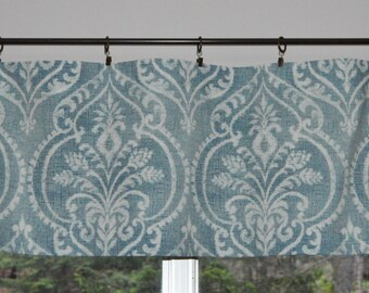 Kitchen Valance . Swavelle Mill Creek Dalusio Damask . Indigo Blue Print . Handmade by Pretty Little Valances