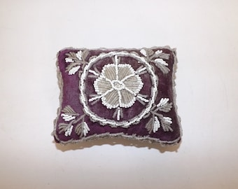 Antique Victorian beaded large pin cushion beadwork purple velvet glass beads floral pattern sewing collectable