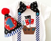 Pirate Party! Baby Boys First Birthday Pirate Themed Onesie and Party Hat