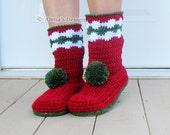 SALE Crochet Boot Pattern Crochet Pattern for Women's Christmas Boots Boot Crochet Pattern Slipper Pattern Adults - Christmas Gift - Pom-Pom