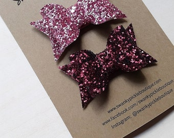Glitter Hair Bow,Burgundy Rose Pink,Chunky Glitter Bow,Snap Clips,Toddler Girls Women,Holiday Hair Clip,No Slip Clips,Fall Hair Bow