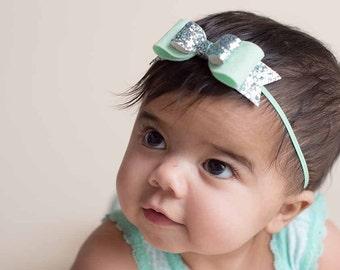 Mint Glitter Bow Headband or Hair Clip,Newborn Baby Girls Toddler,Felt Bow Headband,Iridescent Bow,Felt and Glitter Hair Bow,Easter,Spring