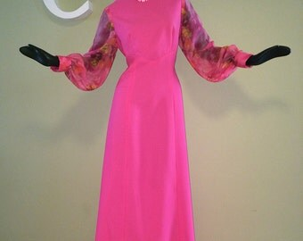 Mod HOT PINK Vintage 60s 70s Maxi Dress Size Large 1960s 1970s Hippie Boho Party Prom Dress Full Length Gown Sheer Floral Flower Sleeves