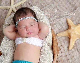 Aqua Rhinestone Flower Headband for girls, perfect for newborns and photo shoots