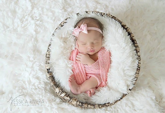 """When just a simple bow will do! Pretty pink ribbon bow on our soft stretch 3/8"""" elastic AND/OR a matching swaddle wrap by Lil Miss Sweet Pea"""