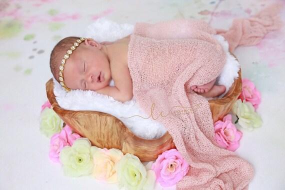 Gold Rhinestone Tieback or Headband AND/OR Blush Stretch Knit Wrap, newborn swaddle, photo bebe infant, bebe, foto, by Lil Miss Sweet Pea