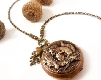 Squirrel Necklace, Squirrel Locket, Woodland, Nature, Squirrel Lover's Gift,  Locket Necklace, Birds, Animals