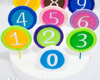 Numbers Cupcake Topper Embroidery Designs, machine embroidery, ITH, in the hoop, 4x4, numbers, number embroidery design, birthday, party
