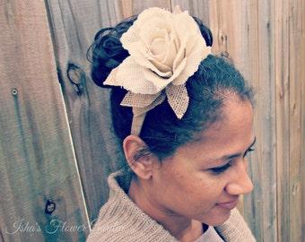 Burlap flower headband, burlap and flower headband