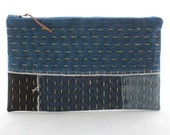 Sashiko Stitched Patchwork Denim Zip Pouch