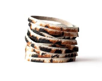 Leather Bracelet / Original Sliced Wrap Cuff / Wild Side