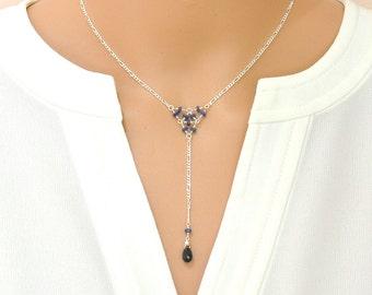 Blue Sapphire Necklace / Blue Stone Geometric Necklace / September Birthstone Necklace / Blue Stone Silver Necklace / Something Blue Wedding